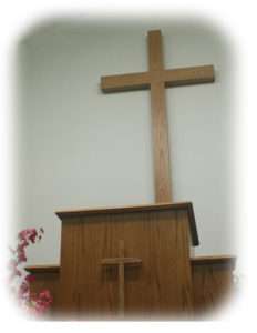 pulpit with large cross