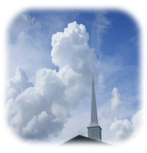 church steeple in clouds