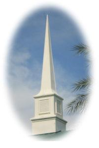 church steeple in clouds